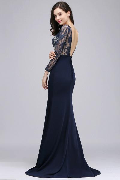 Long Sleeves Satin Mermaid Floor Length Bridesmaid Dress_6