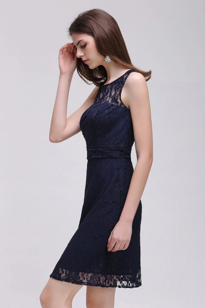 CHARLEIGH |Sheath Scoop neck Short Navy Blue Lace Prom Dresses_5
