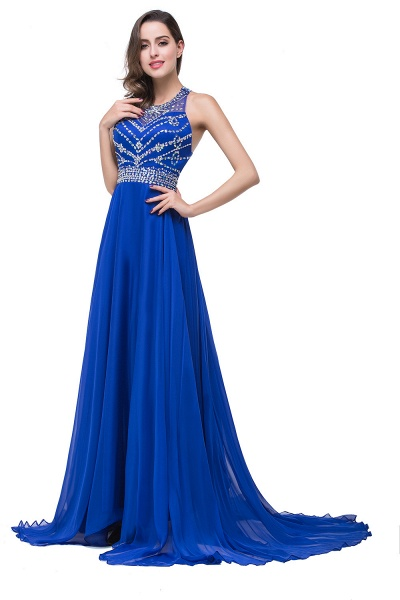 Eye-catching Jewel Tulle A-line Evening Dress_7