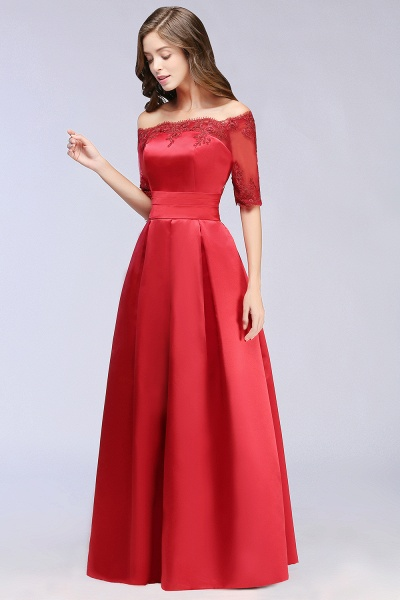 Elegant Off-the-shoulder Satin A-line Evening Dress_7