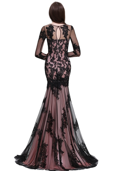 BRYNLEE | Mermaid Long Tulle Sheer Evening Gowns with Appliques_4
