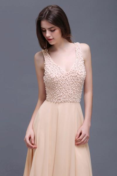 ALANA | Sheath Sheer Chiffon Long Evening Dresses With Pearls_5