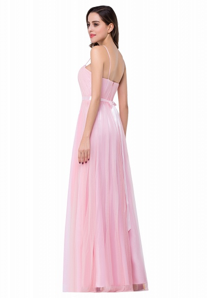 ELLIS | A-line Sweetheart Floor-length Pink Tulle Ruffles Bridesmaid Dresses_6