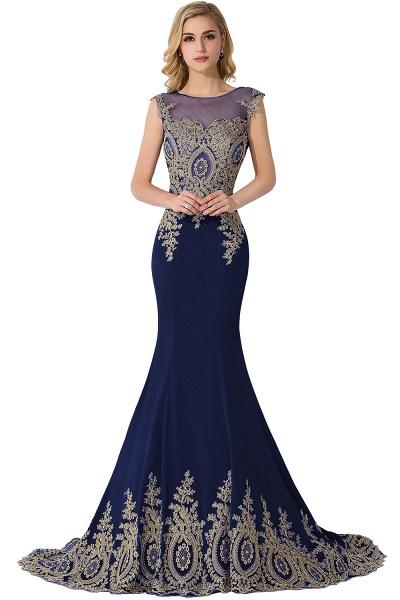 Mermaid Appliques Chiffon Court Train Evening Dress_5