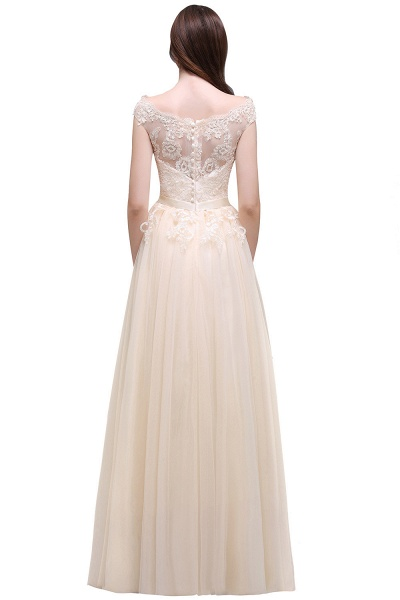 A-line Floor-Length Tulle Bridesmaid Dress With Lace Appliques_9