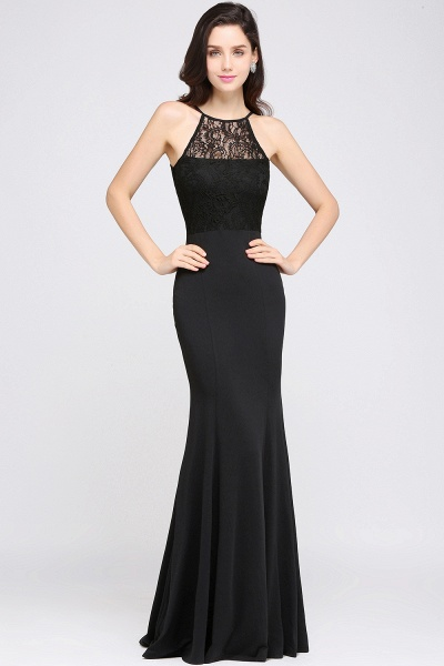 Eye-catching Halter Lace Mermaid Bridesmaid Dress_2
