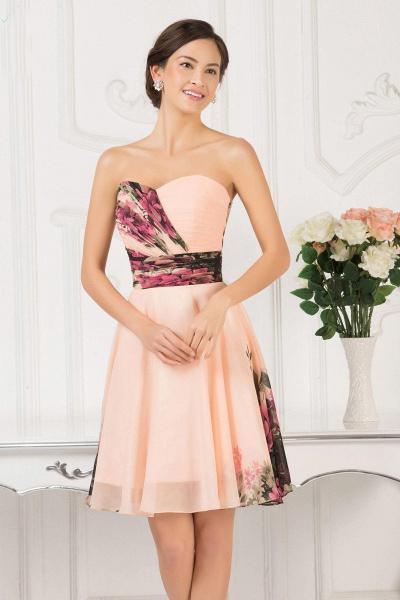 ELENA | A-line Sweetheart Sleeveless Print Ruffles Short Chiffon Prom Dresses_9