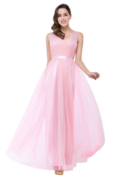 ELLIOT | A-line Sleeveless V-neck Floor-length Tulle Bridesmaid Dresses_9