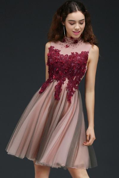 Exquisite High Neck Satin A-line Homecoming Dress_4
