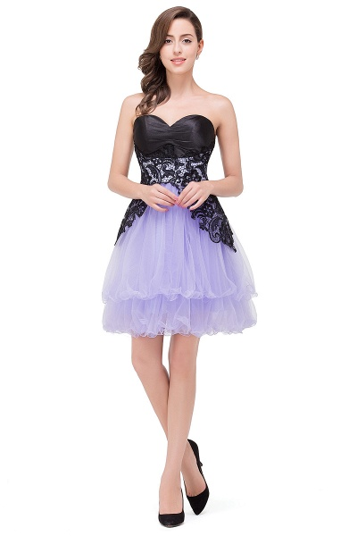 EVALYN | A-line Sweetheart Short Prom Dresses with Bowknot-Sash_1