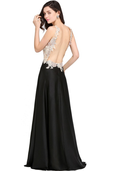 ARIELLE | A-line Floor Length Black Chiffon Evening Dresses with Appliques_2