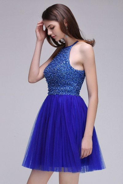 CAITLYN   A-line Halter Neck Short Tulle Royal Blue Homecoming Dresses with Beading_5