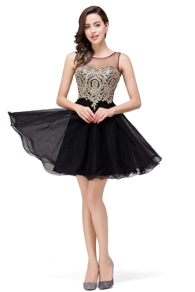 A-line Crew Short Sleeveless Appliques Prom Dress_13