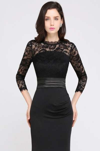 ARIANNA | Sheath High Neck Black Elegant Evening Dresses with Lace_8