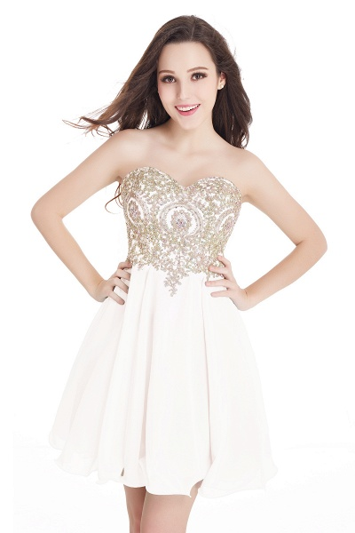 A-Line Strapless Short Chiffon Prom Dresses with Beadings_1