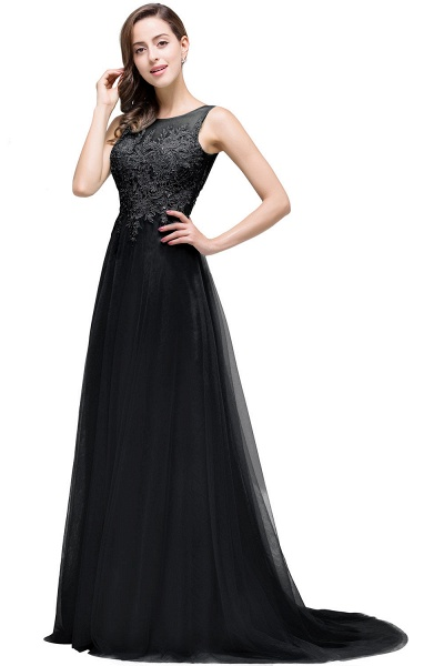 A-line Tulle Appliques Court Train Evening Dress_7