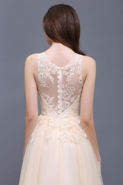 A-line Floor-Length Tulle Bridesmaid Dress With Lace_12