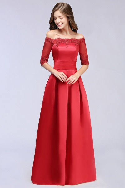 Elegant Off-the-shoulder Satin A-line Evening Dress_6