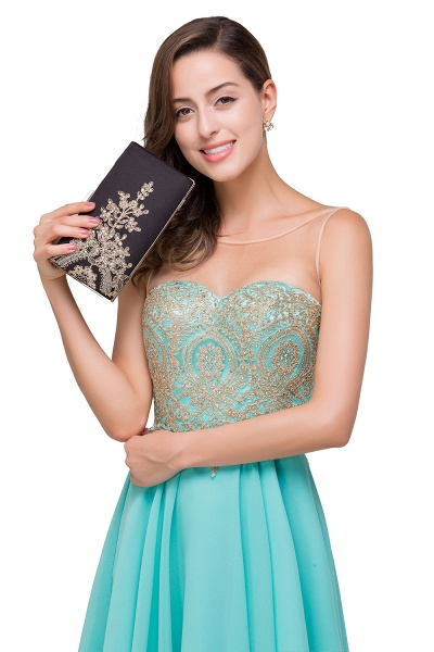 Appliques Elegant Short Sleeveless Chiffon Prom Dresses_9