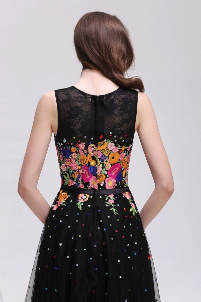 CAMERON | A-line Jewel Neck Tulle Black Prom Dresses with Embroidery Flowers_6