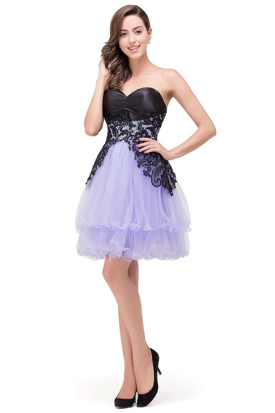 EVALYN | A-line Sweetheart Short Prom Dresses with Bowknot-Sash_8