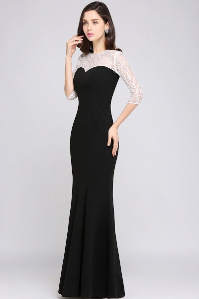 ARIEL | Mermaid Floor Length Black Cheap Evening Dresses with Lace_3