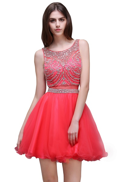 BIANCA | Puffy Straps Short Tulle Homecoming Dresses With Crystal_1