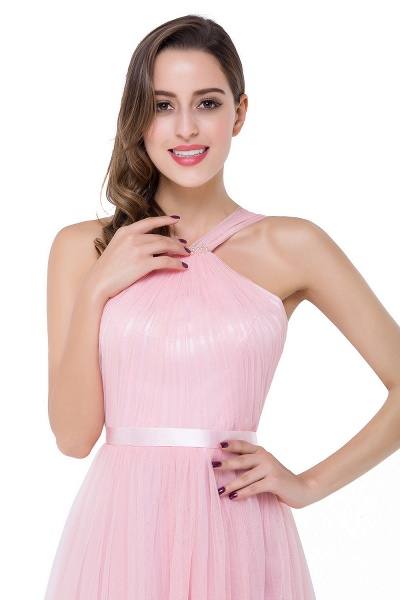 ELLIOTT   Sheath Floor-length Pink Tulle Bridesmaid Dresses with Ribbon Sash_10