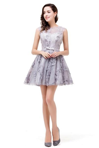DANICA | A-Line Jewel Sleeveless Flower Applique Grey Prom Dresses_1