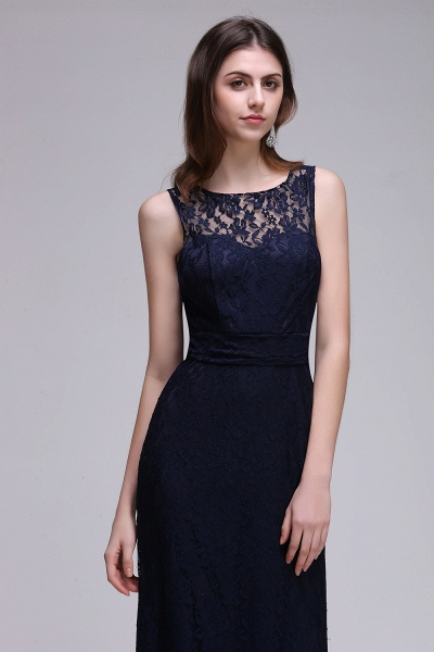 CHARLEY | Sheath Illusion Floor length Elegant Navy Blue Prom Dress_6