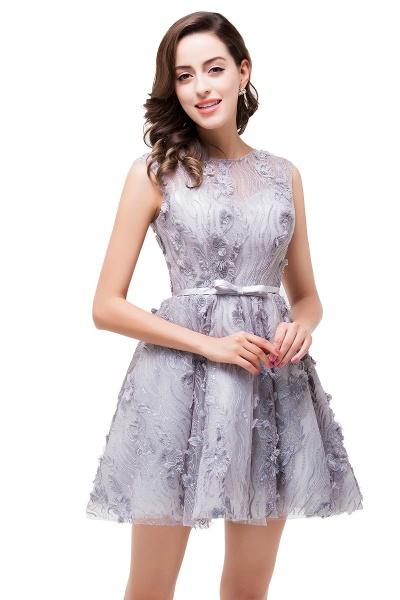 DANICA | A-Line Jewel Sleeveless Flower Applique Grey Prom Dresses_7