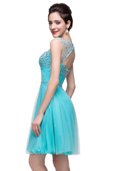 ELIN | A-line Sleeveless Crew Short Tulle Prom Dresses with Crystal Beads_10