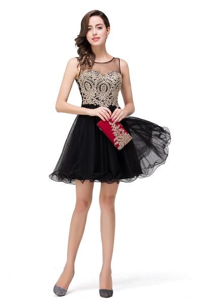 A-line Crew Short Sleeveless Appliques Prom Dress_12