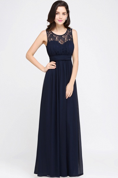 CHELSEA | Sheath Round neck Floor-length Navy Blue Prom Dress_13