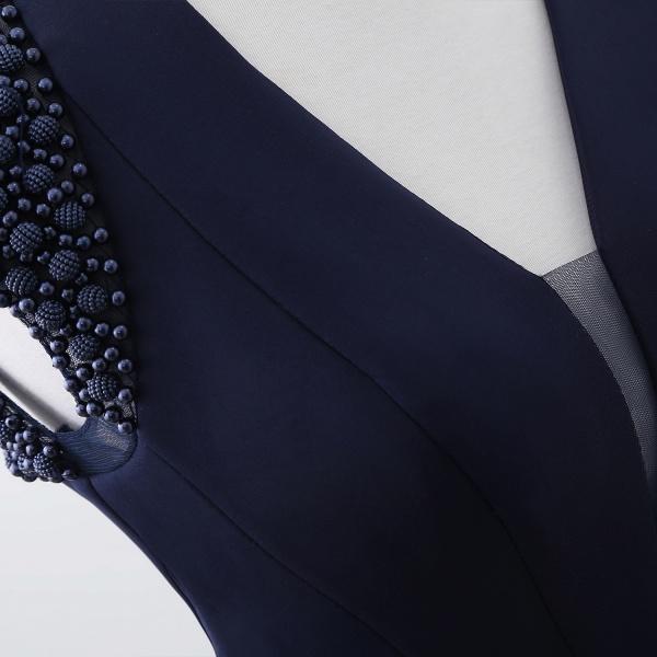 CAMILLA | Mermaid V-Neck Dark Navy Prom Dresses with Beading_10