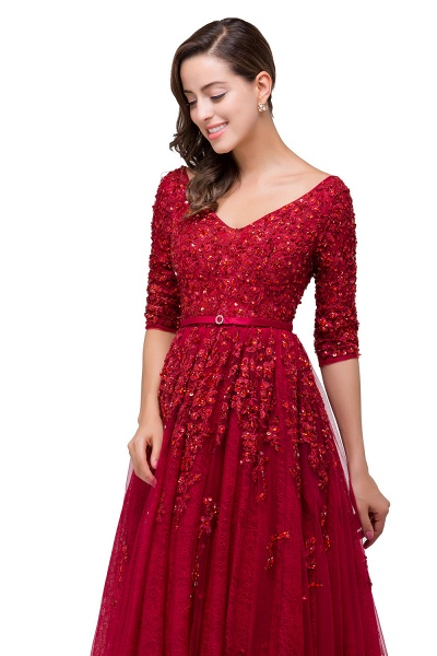 FRANCES | A-Line Floor-Length V-neck Half Sleeves Lace Appliques Prom Dresses_5