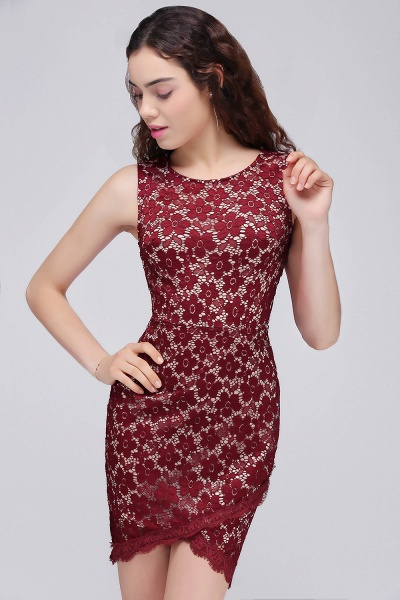 Burgundy Bodycon Round Neck Short Lace Homecoming Dresses_4