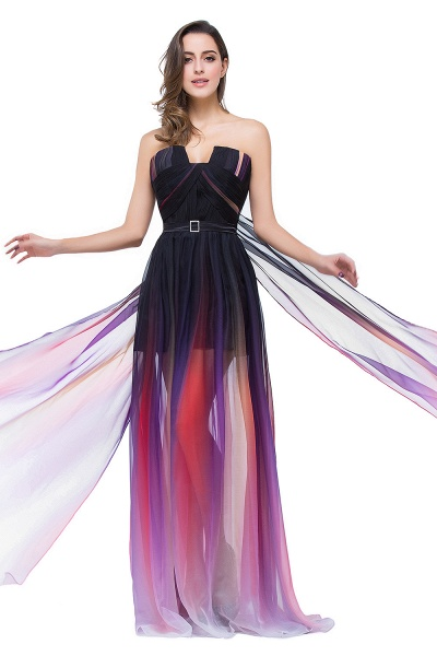 ELISABETH | A-line Floor-length Strapless Tulle Prom Dresses with Sash_8