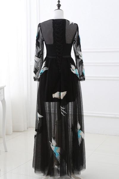 CHARLI | Sheath Round neck Embroidery Long Sleeves Black Prom Dress_3