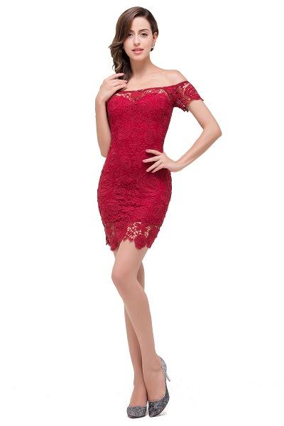 FERNANDA | Mermaid Off Shoulder Short Burgundy Lace Prom Dresses_1