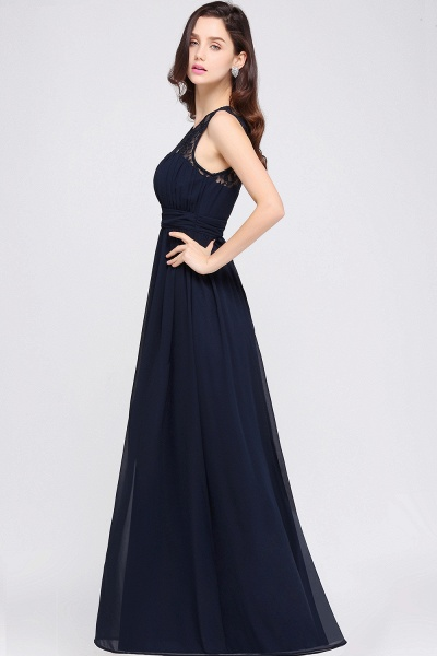 CHELSEA | Sheath Round neck Floor-length Navy Blue Prom Dress_14