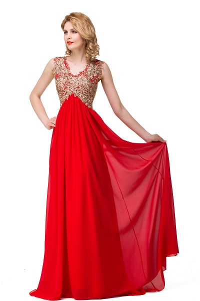 ESME | A-Line Floor-Length Sleeveless V-Neck Lace Appliques Prom Dresses_8