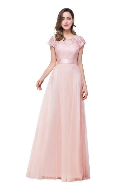 ELLIANA | A-line Short Sleeve Chiffon Bridesmaid Dresses with Ribbon Bow Sash_11