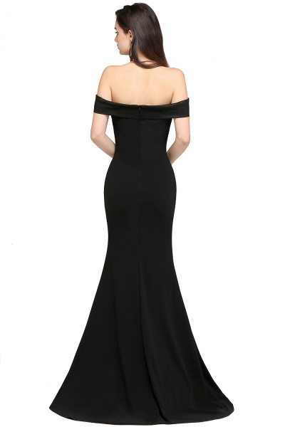 ARIYA | Mermaid Sweep Train Off The Shoulder Black Evening Dresses_2