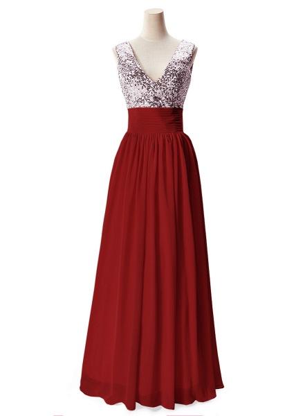 Fascinating V-neck Chiffon A-line Evening Dress_2
