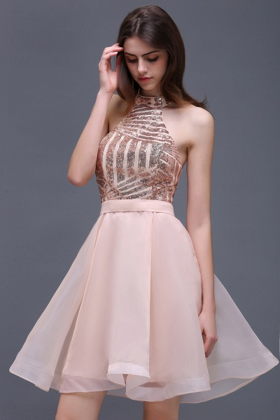 ALAYAH | A Line Halter Organza Short Homecoming Dresses With Sequins_1