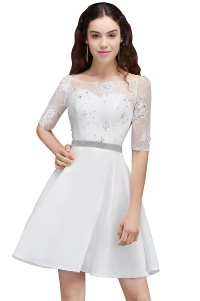 ALICIA | A Line Jewel White Short Sleeve Satin Homecoming Dresses With Lace_7