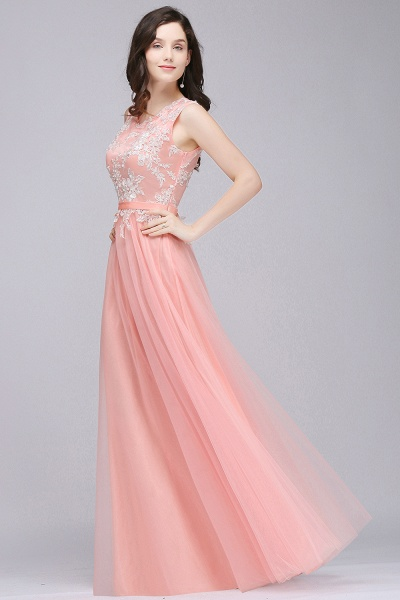CARLY | A-line Jewel Neck Long Tulle Pink Prom Dresses with Sash_6
