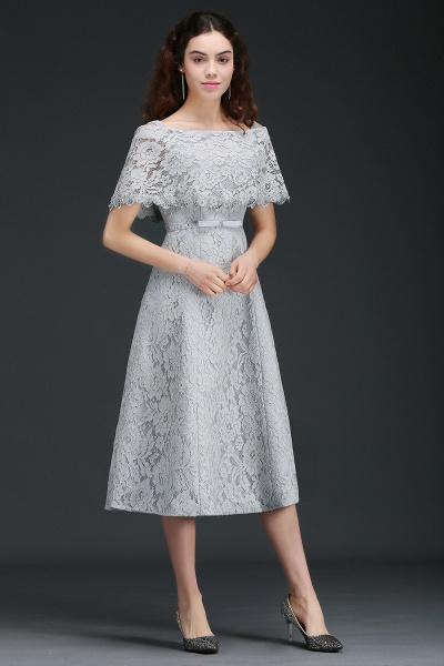 ALEXIS | A Line Off Shoulder Tea-Length Lace Homecoming Dresses With Sash_7