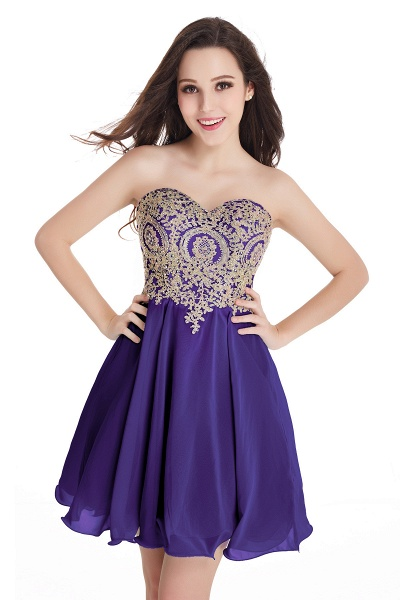 A-Line Strapless Short Chiffon Prom Dresses with Beadings_3